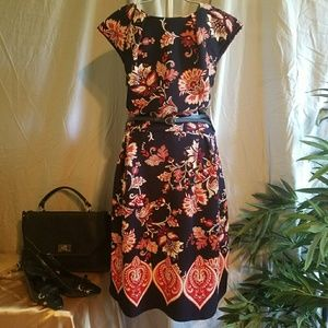 👠NWT En Focus orange/navy dress, Fits like a 10!